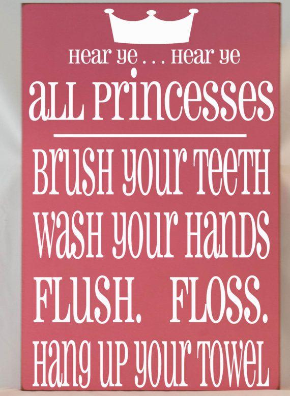 Princess Bathroom Rules Subway Art Typography Word