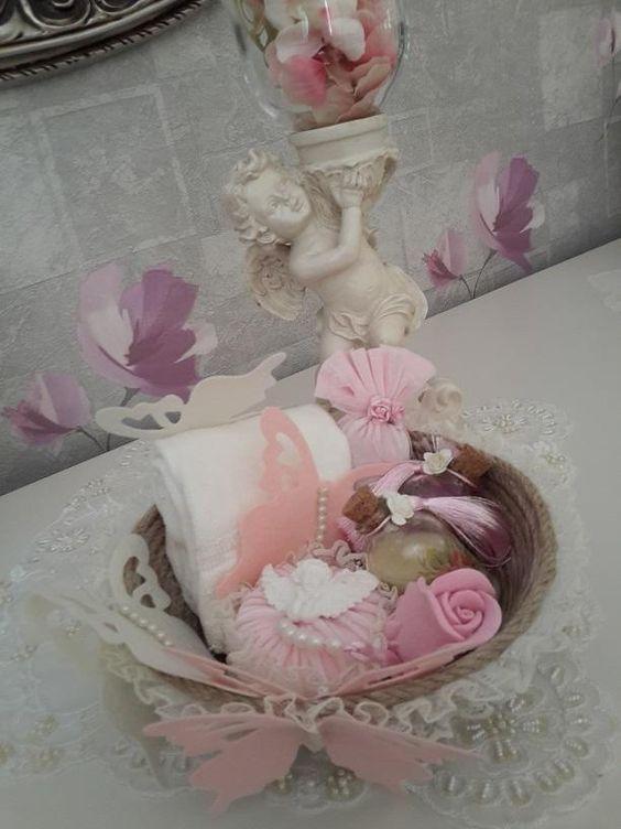 Hediyelik Gelinhamamı Seti,Hediyelik Banyo Sepet/GHST-03 Pembe Gönlüm sende