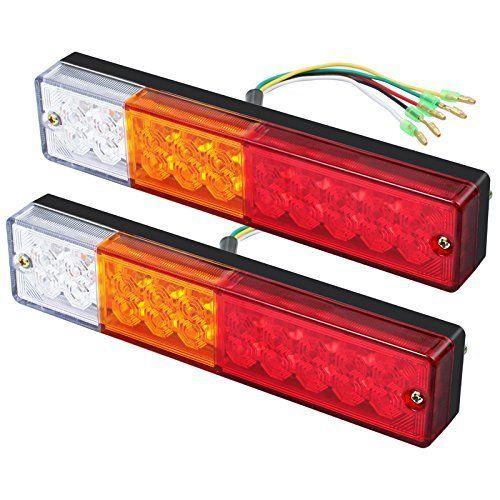 Justech 2 x Feux Arrière LED Feux de Recul Freinage Clignotant Eclairage Plaque Phare Arrière 40 LED Univesel 12V 24V pour Remorque Camion…
