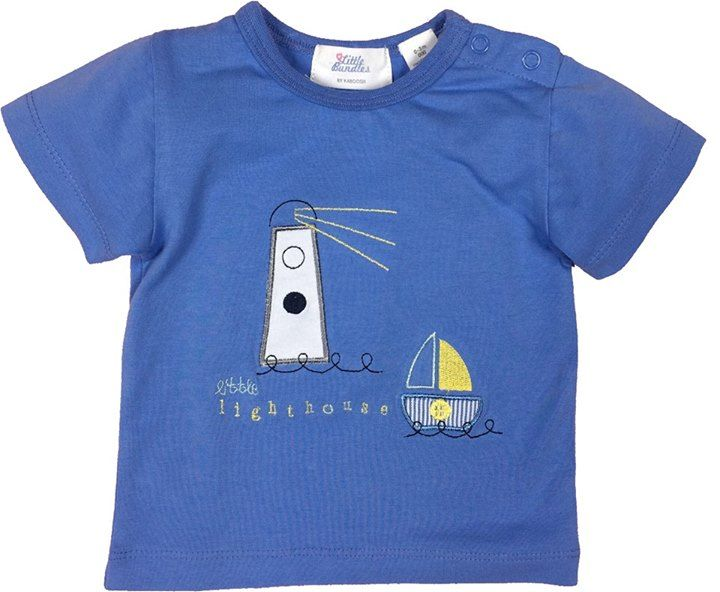 Cute as a button T shirt with lighthouse and boat motif on front of shirt.  Picture perfect in blue for the little man in your life made with cotton and spandex  by little bundles make this a cute Tee.  www.babydesignerclothes.com.au  $25.