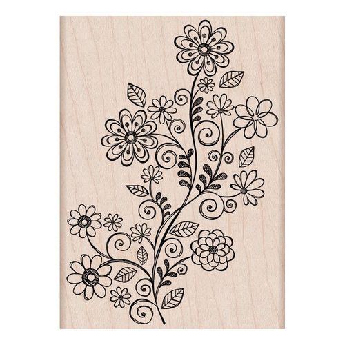 Hero Arts - FLOWER SWIRL VINE - dřevěné razítko