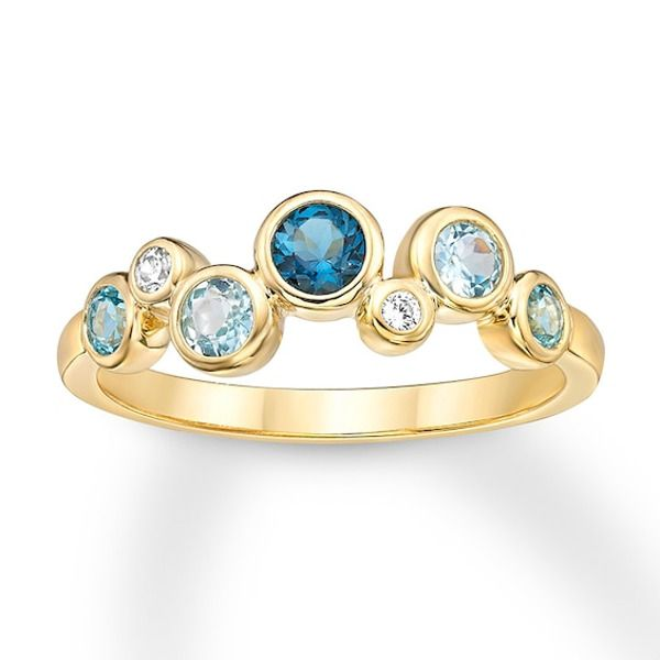 Blue Topaz Diamond Ring Bezel Set 10k Yellow Gold Kay In 2020 Morganite Engagement Ring Rose Gold Blue Topaz Diamond Mothers Day Rings