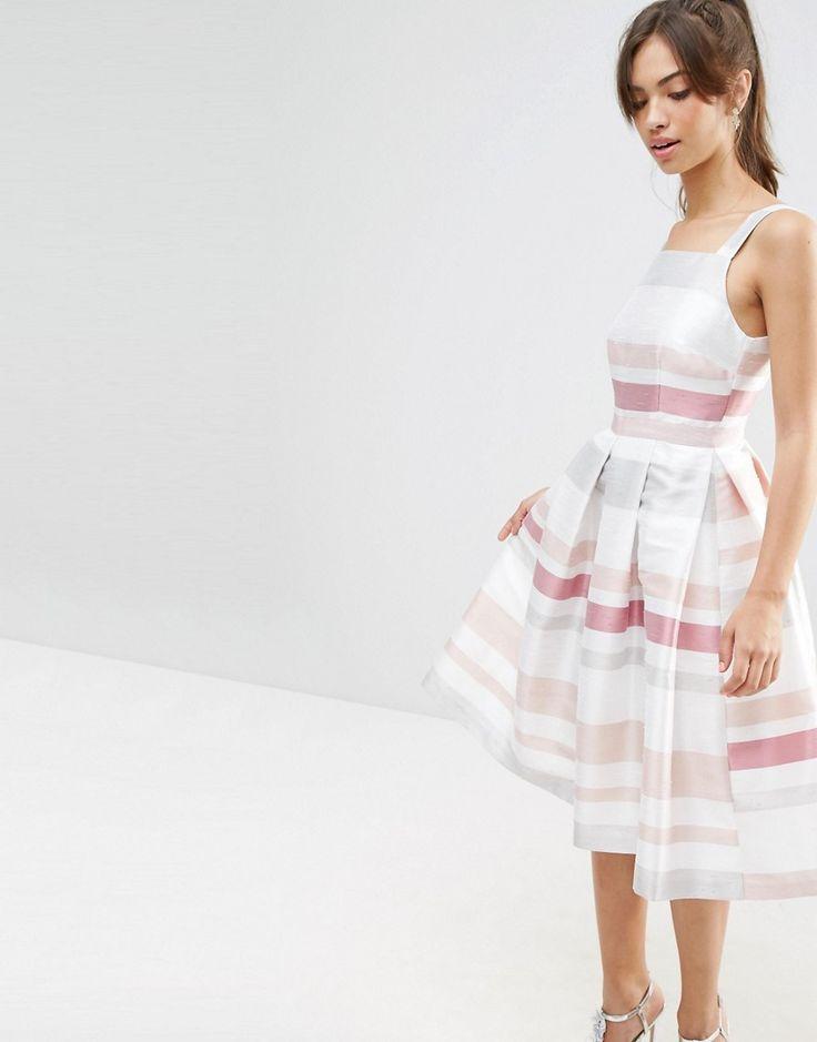 Image 1 ofASOS Stripe Vintage Midi Prom Dress