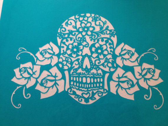 Day Of The Dead Lace and roses mexican skull cake topper stencil  ! -  cake decorating stencils