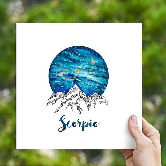 Scorpio Zodiac Watercolour Painting