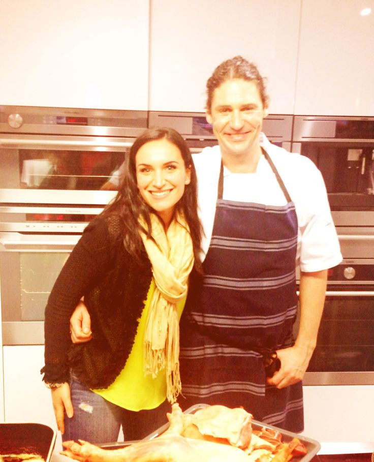 Stephanie, our Social Media Coordinator, with the #princeofpork Colin Fassnidge at the #gourmetinstitute