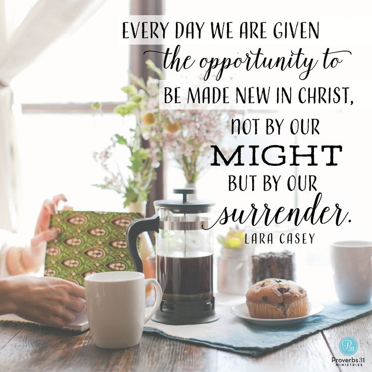 """Every day we are given the opportunity to be made new in Christ, not by our might but by our surrender."" - Lara Casey 