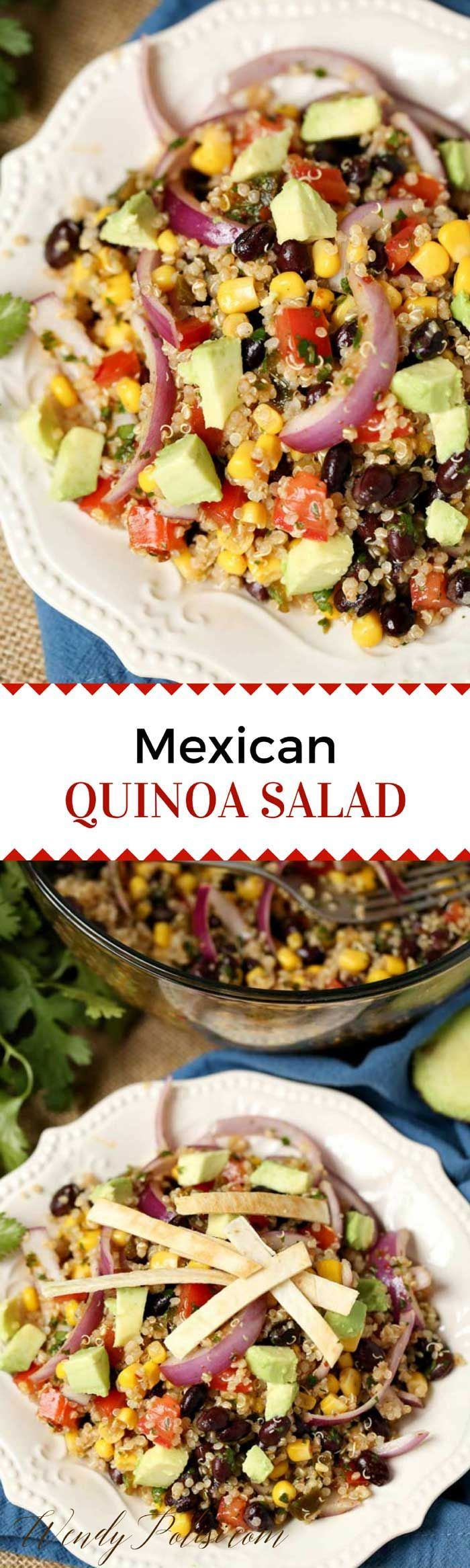 This Healthy Mexican Quinoa Salad with Black Beans is the perfect easy recipe for your clean eating diet.  It is vegan, dairy-free and gluten-free.  #vegan #quinoa #salad #healthy #mexican