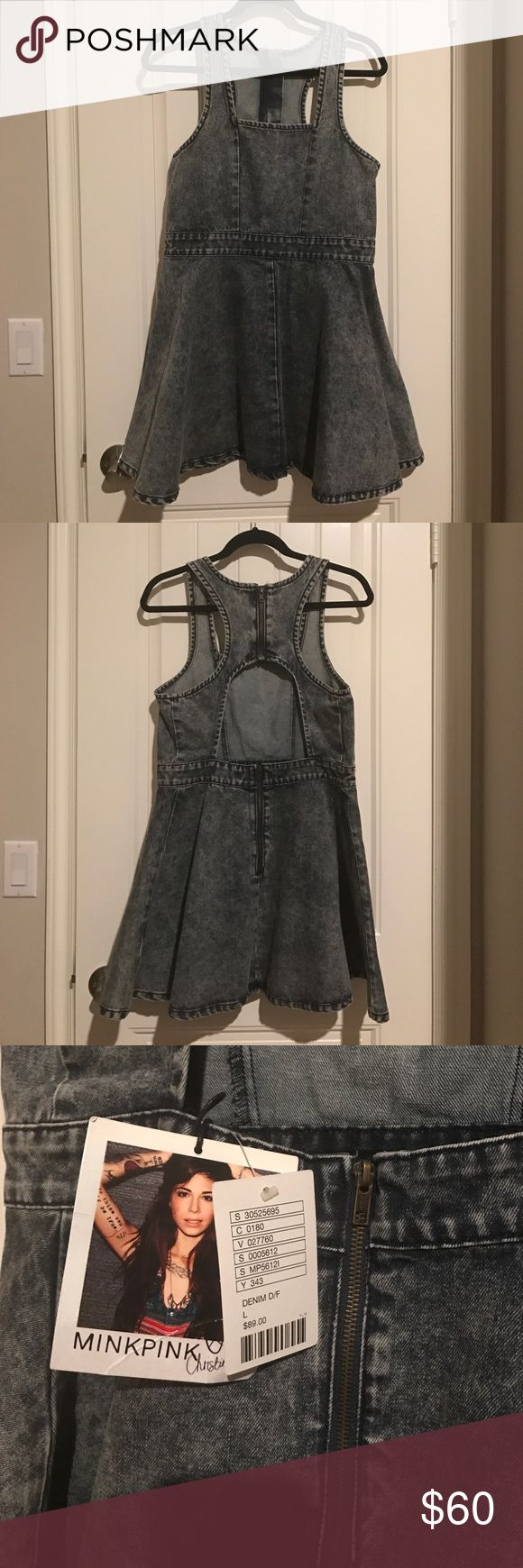 Acid wash denim skater dress NWT Acid wash skater dress. Very thick material, really nice!! NWT MINKPINK Dresses Mini