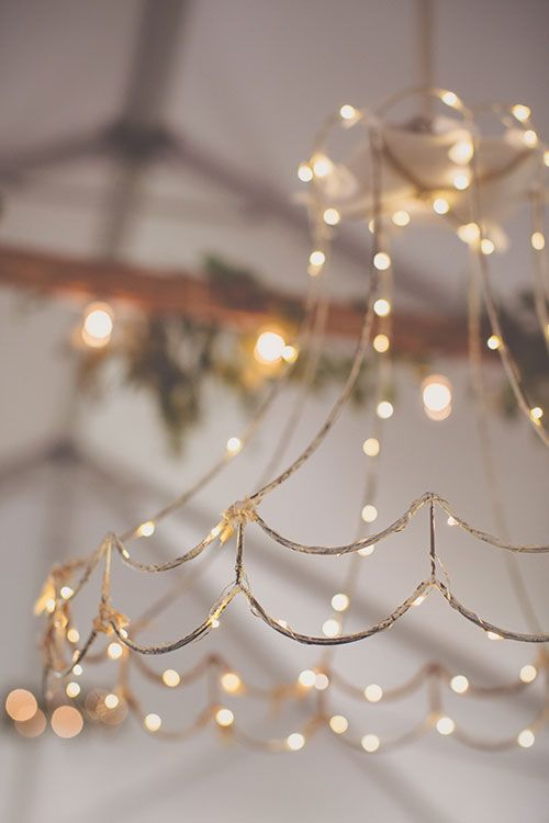 Bohemian-Chic Wedding in South Carolina, Antique Lampshade Chandelier | Brides.com