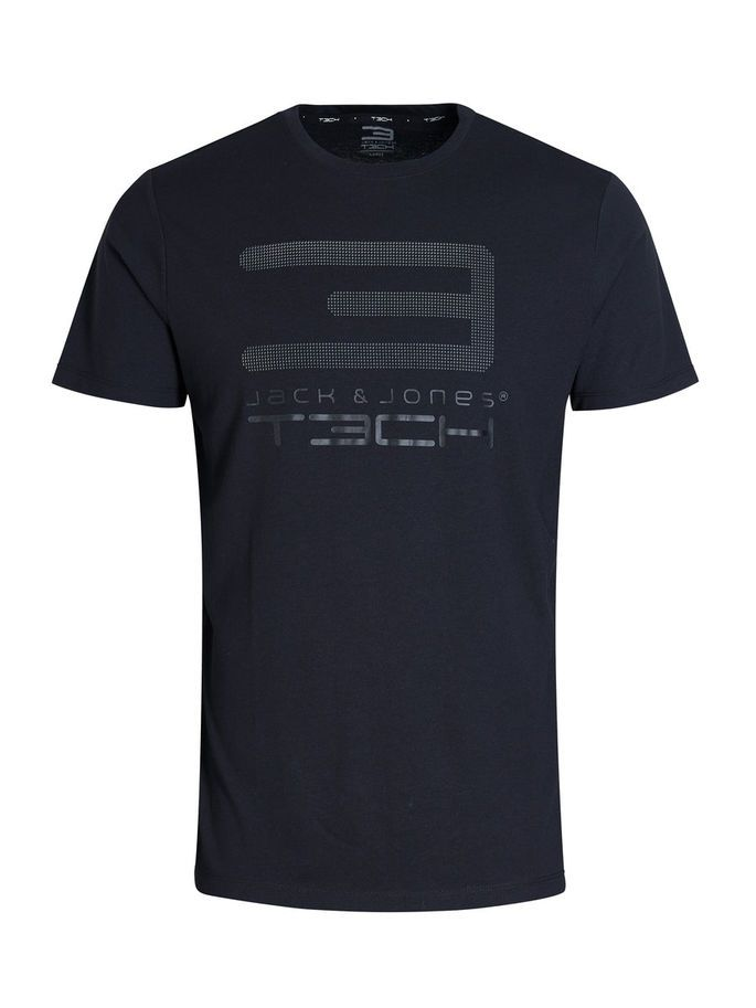 Black print tshirt, available in white, olive green and blue. Print with 3D dot effect; quick dry quality for comfort   JACK & JONES #sportswear #training #resolutions #gym #fitness #gymwear #sportsgear #men #top #tshirt #tee