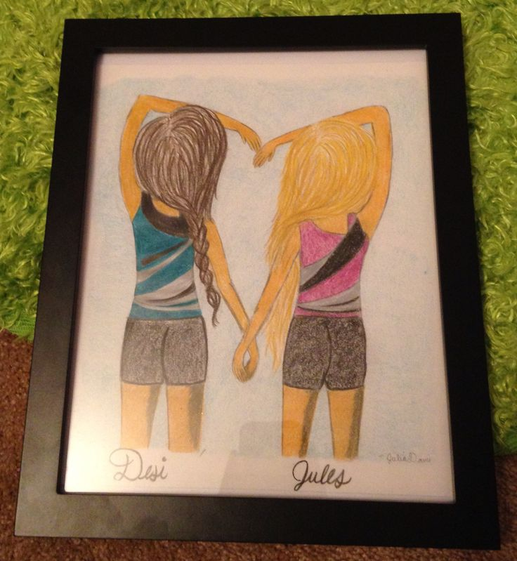 Pic of me and a friend in our gymnastics leos. Drawing by: Julia Davis