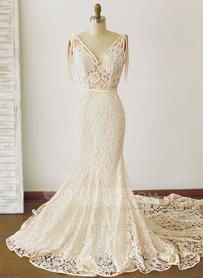 Trumpet/Mermaid V-neck Royal Train Ruffle Bow(s) Zipper Up Regular Straps Sleeveless Church General Plus No Spring Summer Fall Other Colors Lace Wedding Dress