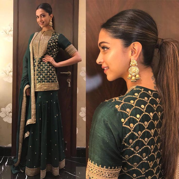 The stunning  @deepikapadukone wearing @sabyasachiofficial earrings @tanishqjewellery makeup @shraddha.naik hair @amitthakur_hair assured by @anjalichauhan16 #padmavatipromotions