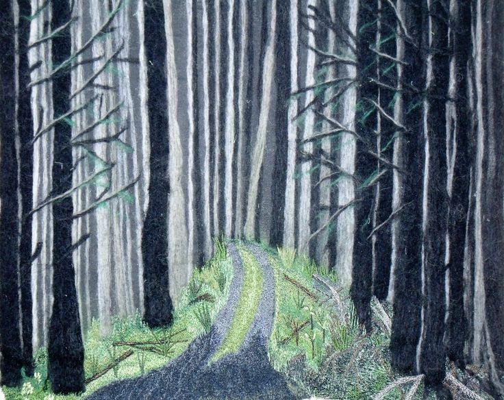 The Road Less Travelled - A representation of Robert Frost's poem, Needle felted Trees, Thread Painted Road and Forest floor.