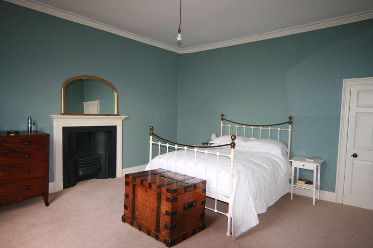 Completed Master Bedroom. Walls in Farrow and Ball Oval Room Blue, Woodwork in Farrow and Ball Limewhite, Ceiling Farrow and Ball Pointing and Fireplace Farrow and Ball Raillings. All hail F&B!