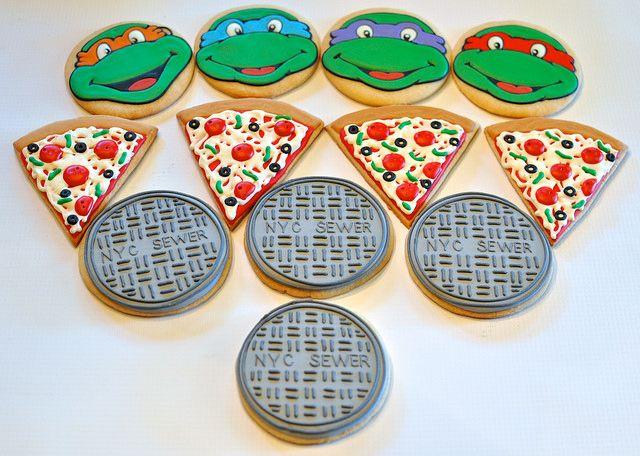 Teenage Mutant Ninja Turtle Cookies by Kelley Hart Custom Cookies                                                                                                                                                      More