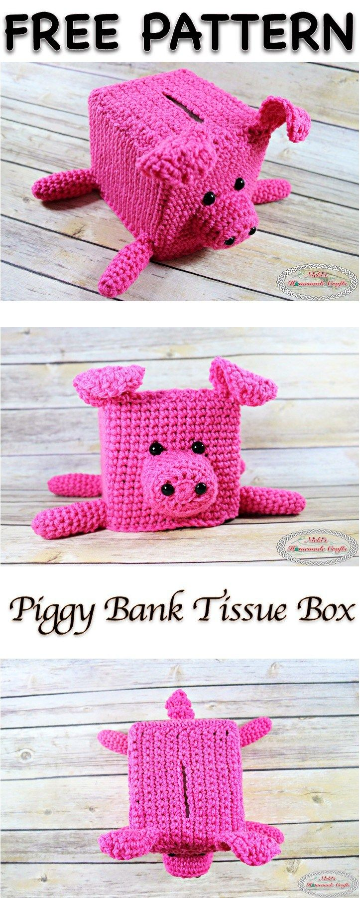 Piggy Bank Tissue Box By Nicole Riley - Free Crochet Pattern - (nickishomemadecrafts)