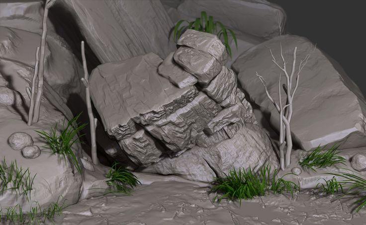 WIP Rocky Jungle Environment, Omar Chelos on ArtStation at https://www.artstation.com/artwork/vmJ3x