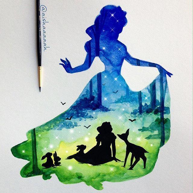 Силуэты Дисней Принцесс в акварелях