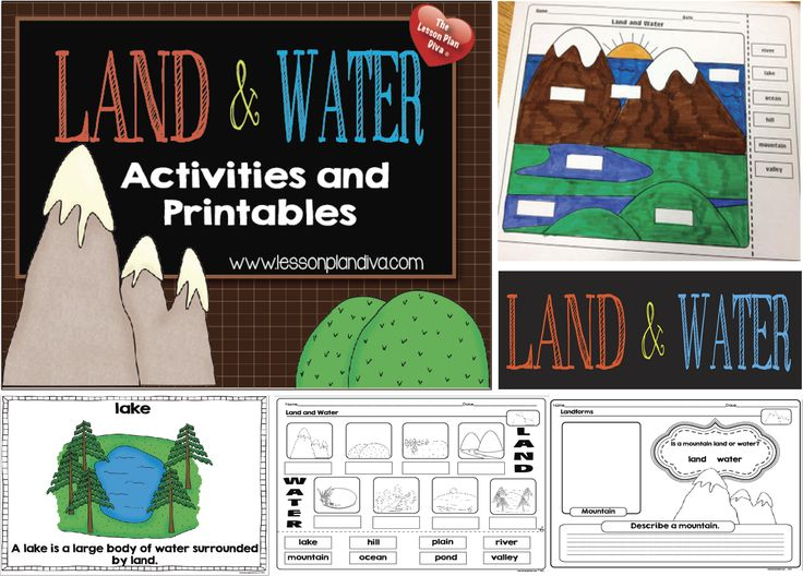 Landforms and water activities for 1-4th grade.