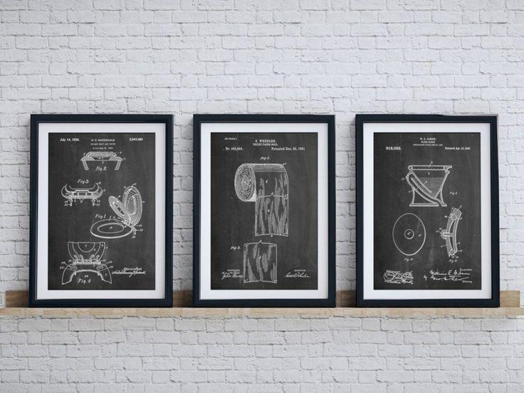 Bathroom Wall Art Bathroom Art Patent Posters Group Of 3 Bathroom Wall Decor