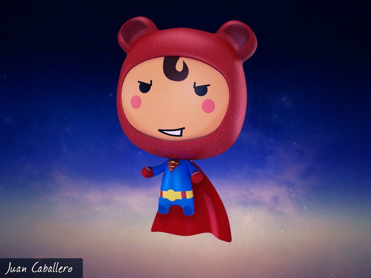Will Superman Kawaii 3D, Juan Caballero on ArtStation at https://www.artstation.com/artwork/bDELd