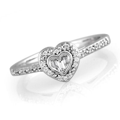 Zales 1/8 CT. T.w. Diamond Cluster Tilted Heart Promise Ring in Sterling Silver - Size 7 1UUDwy6QR