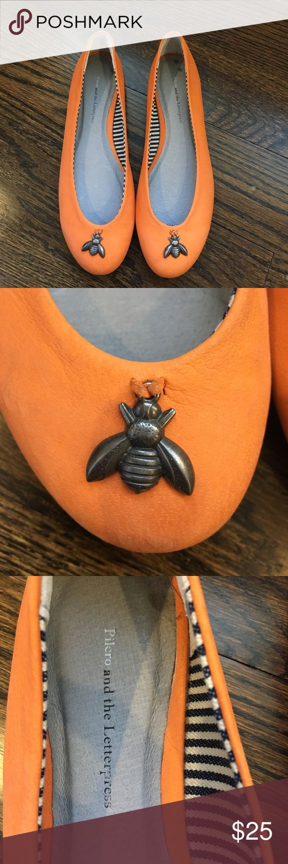 Orange bumblebee shoes from Anthropologie, sz 7 Orange flats from Anthropologie with bumblebee pendant. Brand new without the box. These have never been worn and are in new condition. Size 7. Anthropologie Shoes Flats & Loafers