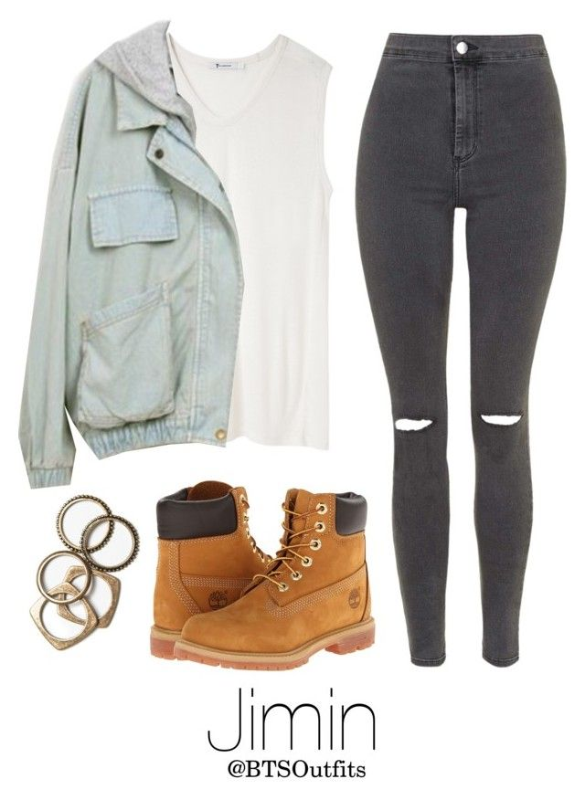 """Jimin Inspired w/ Timberlands"" by btsoutfits ❤ liked on Polyvore featuring Timberland, T By Alexander Wang, Rachel Leigh and Topshop"