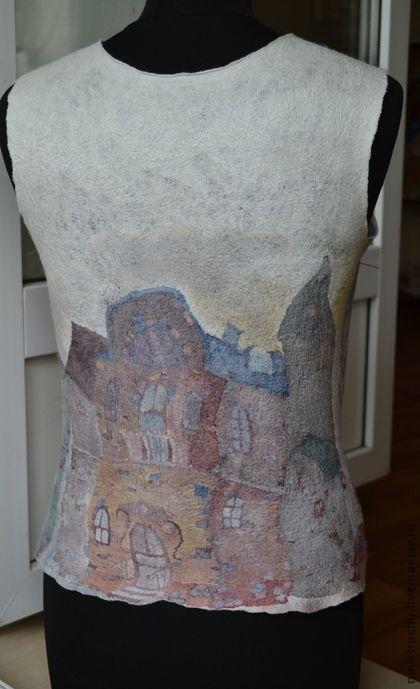 """Кофты и свитера ручной работы. Ярмарка Мастеров - ручная работа Топ """"Питер FM"""" нунофелтинг. Handmade."""
