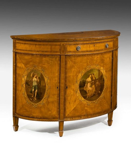 Late 19th century satinwood demilune commode by ANGELICA KAUFFMANN, R.A. (Ref No. 7410) - Windsor House Antiques