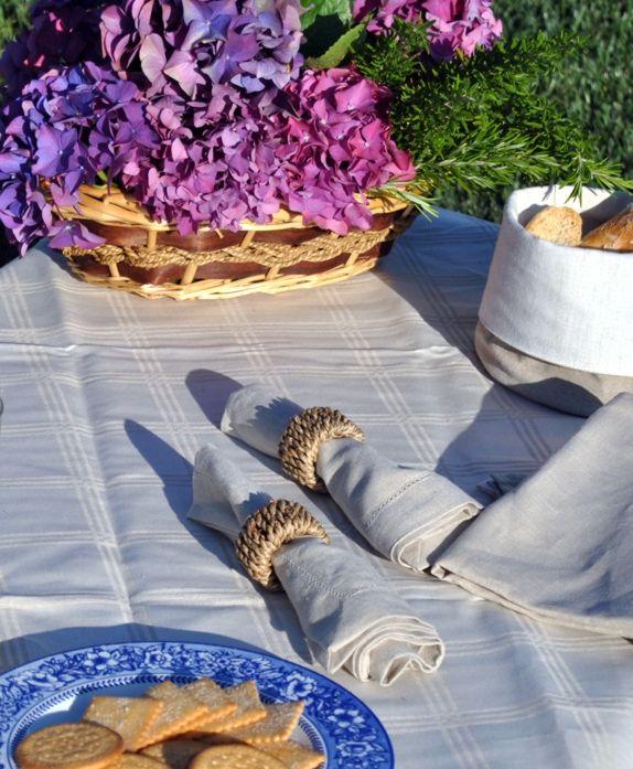 Manteles damasco mezcla de lino y algodón