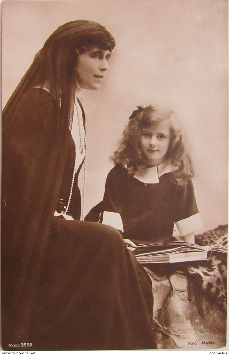 Queen Marie of Romania with her youngest daughter, Princess Ileana.