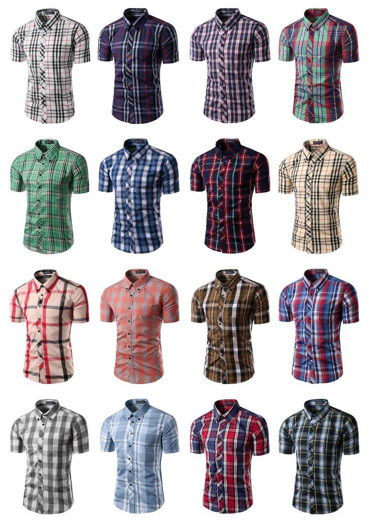 Camisa Casual Manga Curta - Estilo Escocês