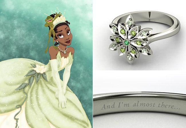 Uma linha de anéis de noivado inspirados nas princesas da Disney. Além das cores, os anéis também vêm gravados com frases famosas dos filmes.