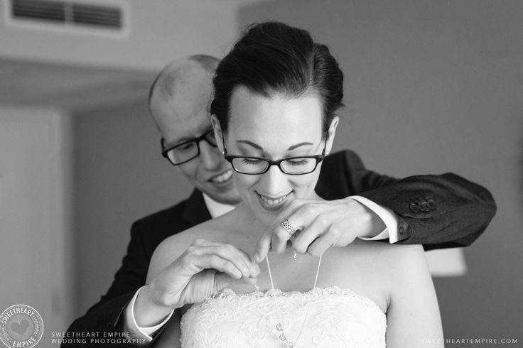 Groom gives bride a gift at their first look. Toronto Reference Library Wedding #sweetheartempirephotography