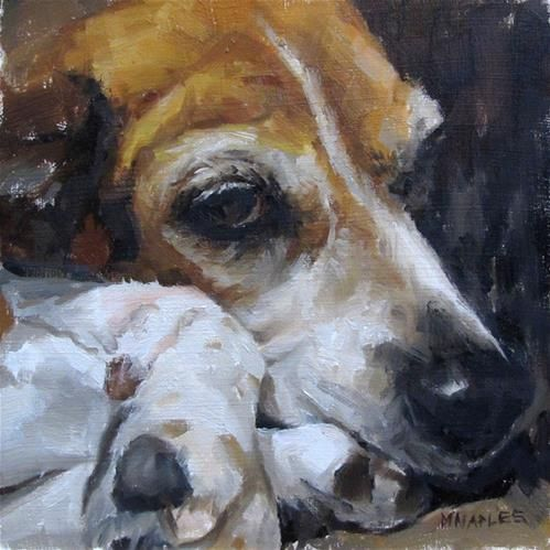 """Maryann the Beagle"" - Original Fine Art for Sale - © Michael Naples"