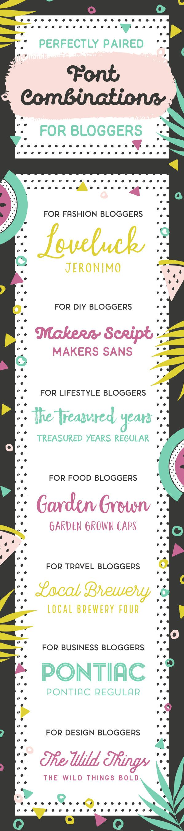 Fashion, DIY, Lifestyle, Food, Travel, Business and Design: Whatever your niche, these font combinations for bloggers will crack the font selection process for you!