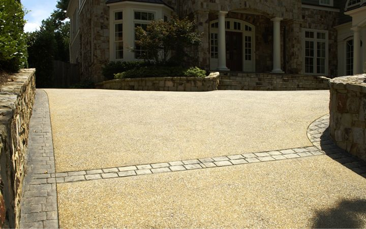 concrete driveways | Concrete Driveway Style with Exposed Aggregate and Paver Border