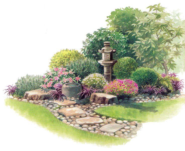 Японский сад. Каменная чаша для воды и фонарь | Садовед