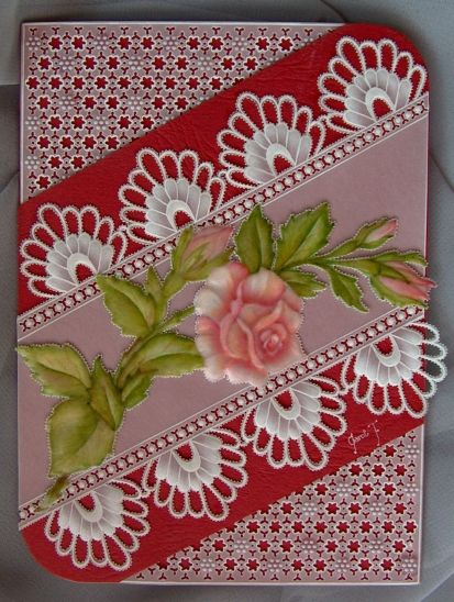 I loved doing the intricate lace work on this card.