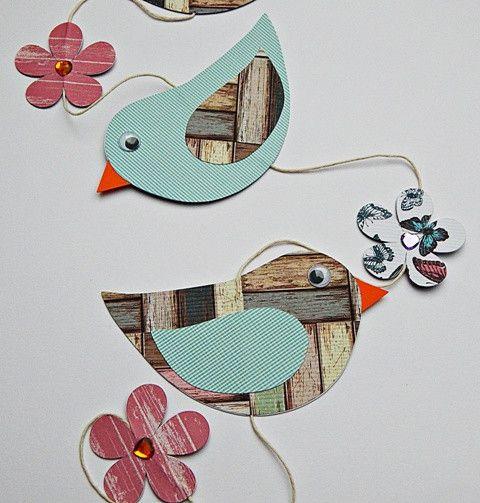 """Girlande+""""Vögelchen""""+Fensterkette+(3)+von+Nattis+Basteleien+auf+DaWanda.com"""