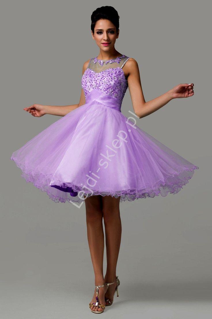Tiulowa wrzosowa sukienka z koralikami i cekinami | wrzosowe, fioletowe sukienki