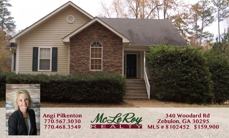 Home for Sale Pike County   340 Woodard Road Zebulon, GA 30295  MLS # 8102452 3+ acres in North Pike 3 bedrooms/2 bathrooms Kitchen Family/dining room on main level Finished basement has a bedroom, bathroom, family room and finished kitchen. Home sold as is with no disclosures Check out this link for more details!  Contact Angi at McLeRoy Realty for an appointment to see this listing! 770.567.3030   770.468.3549 angi@mcleroyrealty.com