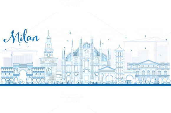 Outline Milan Skyline by Igor Sorokin on @creativemarket