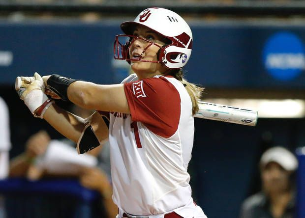 Oklahoma's Nicole Pendley hits a three-run home run in the first inning during a Women's College World Series softball game between the University of Oklahoma (OU) Sooners and Baylor at ASA Hall of Fame Stadium in Oklahoma City, Thursday, June 1, 2017. Photo by Bryan Terry, The Oklahoman
