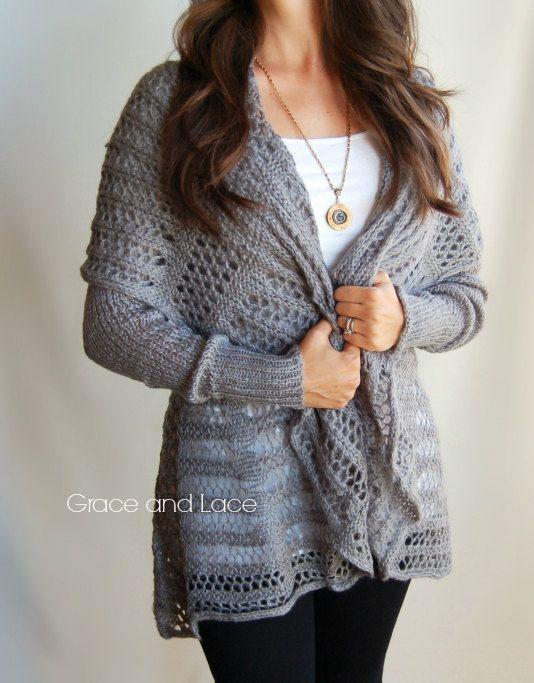 Over-sized Knit Cardi - Grey knit cardigan - knit sweater ...