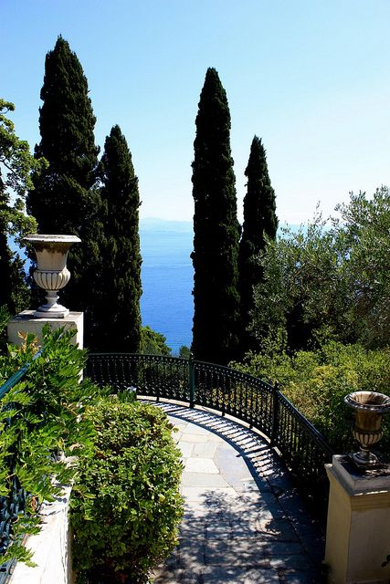 Balcony/Path of Achilleion Gardens looking out at the Ionian Sea, Corfu, Greece
