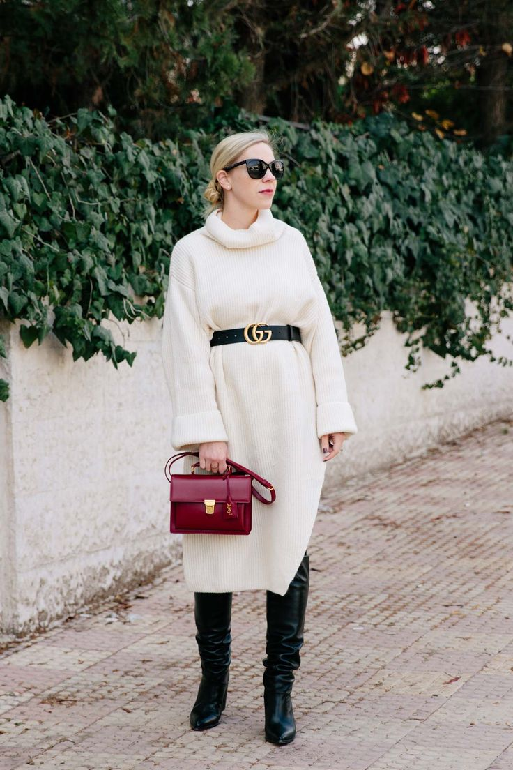 3 Easy Tips for Styling an Oversized Dress: cream sweater dress with Gucci Marmont belt and Stuart Weitzman slouchy knee boots